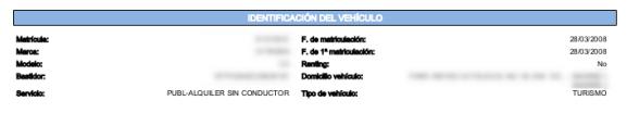 identificación del vehículo en informe DGT