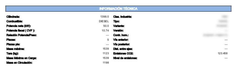 información técnica del vehículo